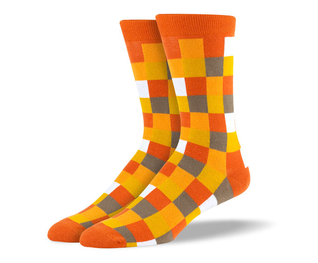 Men's Orange Square Socks