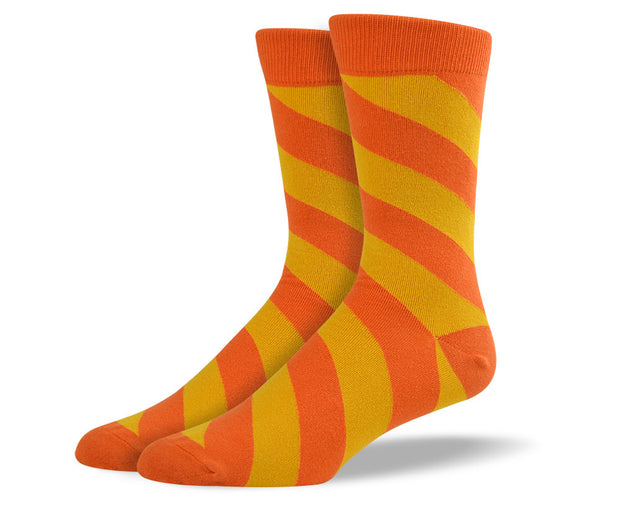 Men's Orange Diagonal Stripes Socks