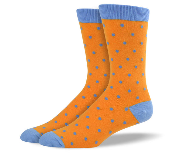 Men's Orange & Blue Small Polka Dots Socks