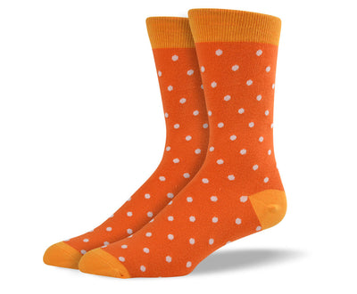 Men's Orange & White Small Polka Dots Socks