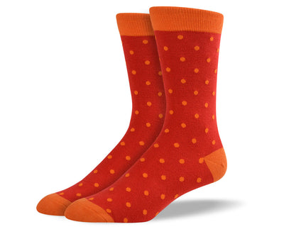 Men's Orange Small Polka Dots Socks