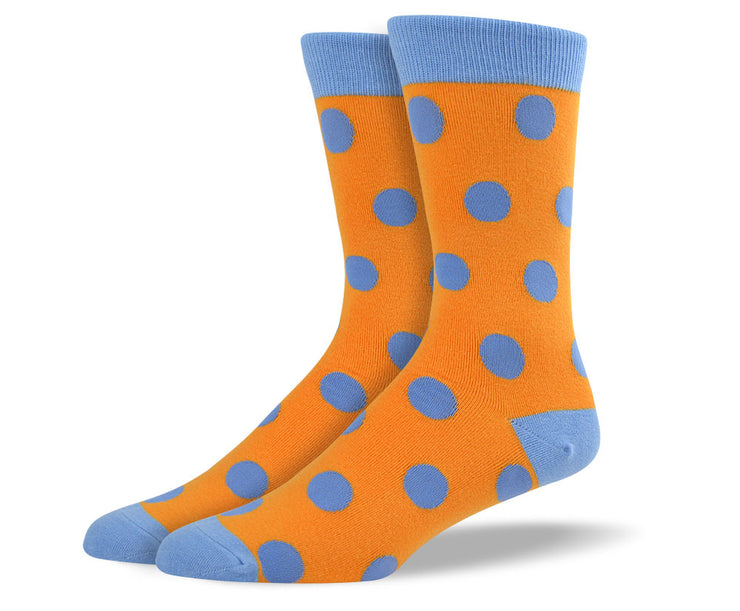 Men's Orange & Blue Big Dots Socks