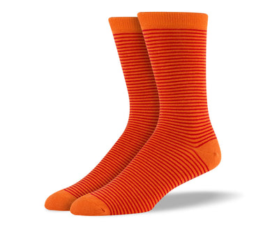 Men's Dark Orange Thin Stripes Socks