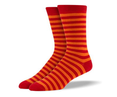 Men's Dark Orange Stripes Socks