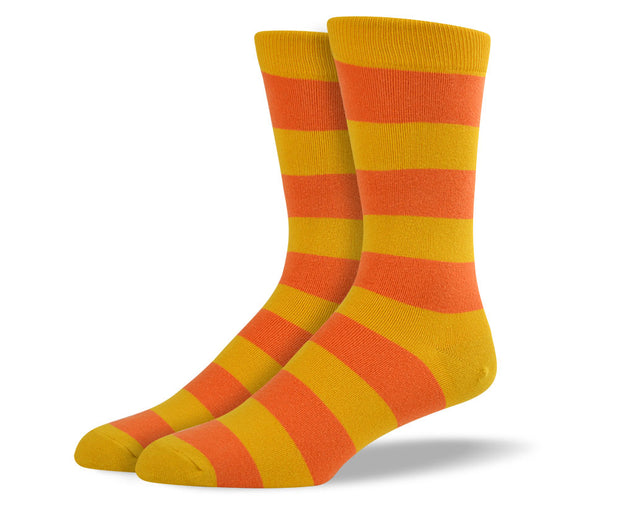 Men's Orange Thick Stripes Socks