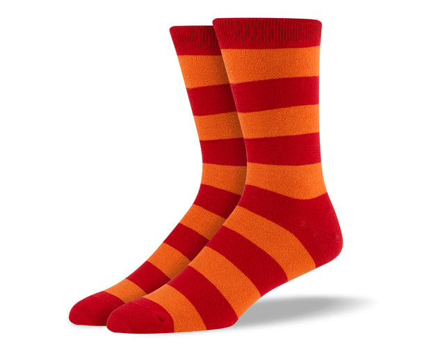Men's Dark Orange Thick Stripes Socks