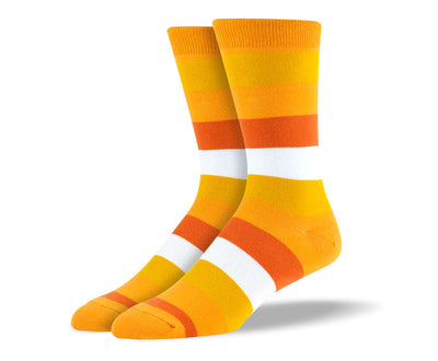 Men's Orange & White Thick Stripes Socks
