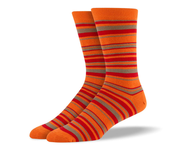 Men's Orange & Grey Thin Stripes Socks
