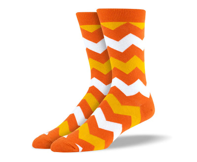Men's Orange Zig Zags Socks