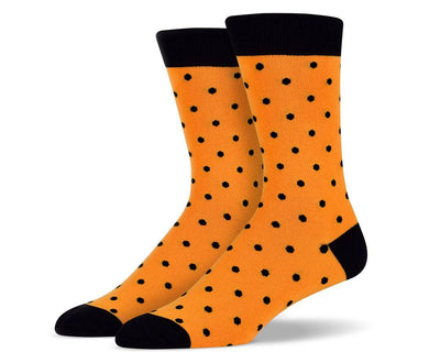 Mens Orange & Black Small Polka Dot Socks