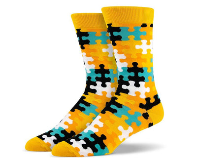 Mens Yellow Puzzle Socks