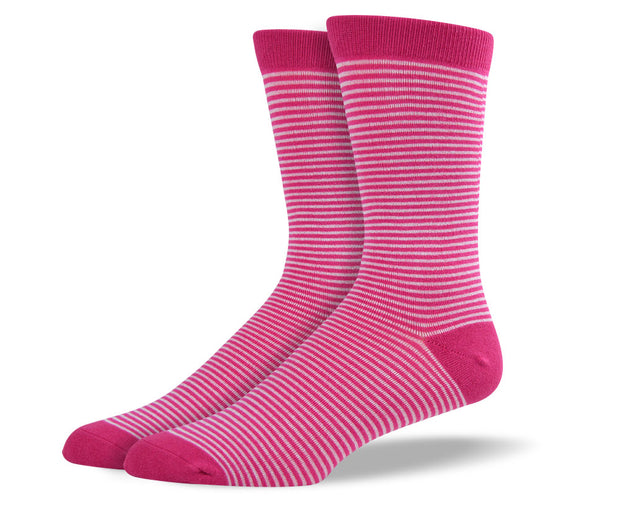 Men's Pink & White Thin Stripes Socks