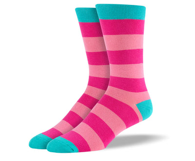 Men's Pink Thick Stripes Socks