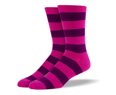 Men's Pink & Purple Thick Stripes Socks