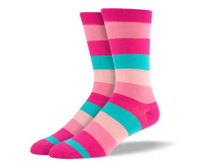 Men's Pink & Blue Thick Stripes Socks