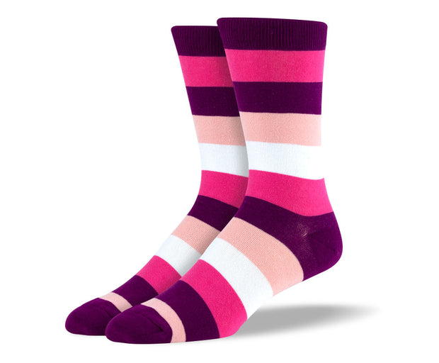 Men's Pink & White Thick Stripes Socks