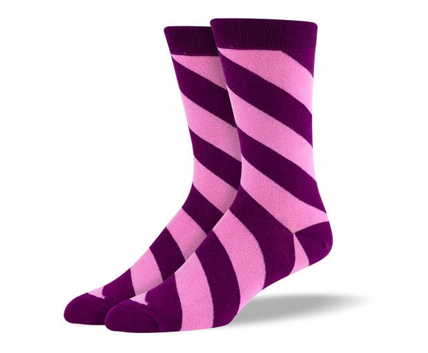 Men's Purple & Pink Diagonal Striped Socks