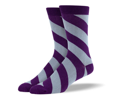 Men's Purple & Grey Diagonal Striped Socks