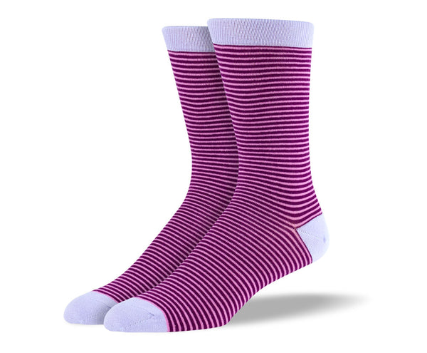 Men's Light Purple Thin Stripes Socks