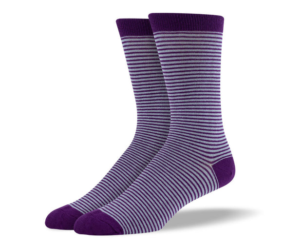 Men's Dark Purple Thin Stripes Socks