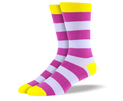Men's Purple & Pink Thick Stripes Socks