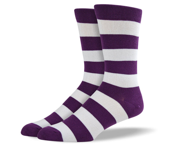 Men's Purple & White Thick Stripes Socks