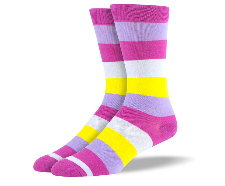 Men's Purple & Yellow Thick Stripes Socks