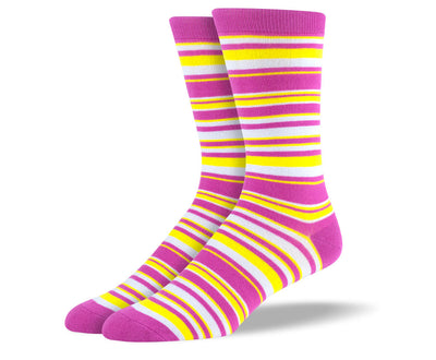 Men's Pink & Yellow Thin Stripes Socks