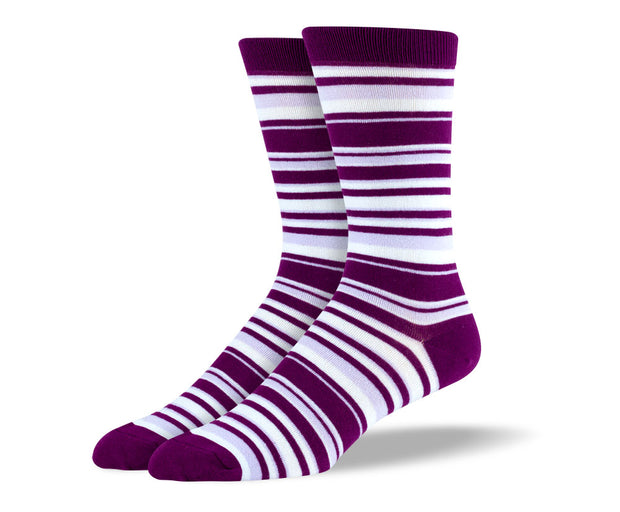 Men's Purple & White Thin Stripes Socks