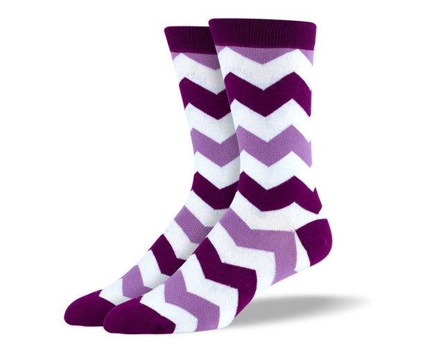 Men's Purple & White Zig Zag Socks