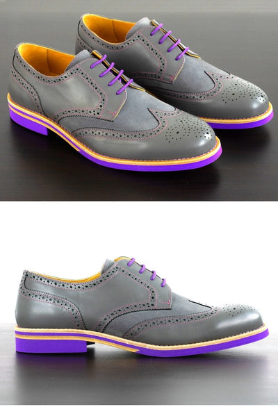 Mens Grey & Purple Leather Wingtip Dress Shoes- Size 12