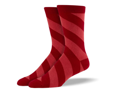 Men's Red Diagonal Stripes Socks