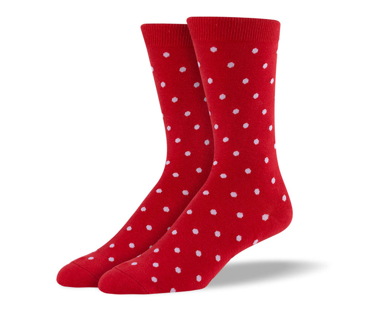 Men's Red Small Polka Dots Socks