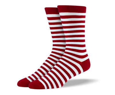 Men's Red & White Stripes Socks