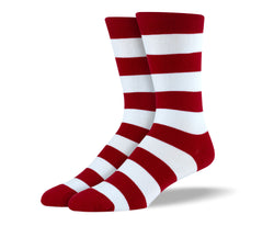Men's Red & White Thick Stripes Socks
