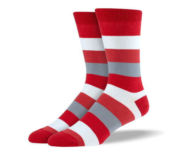 Men's Red & Grey Thick Stripes Socks