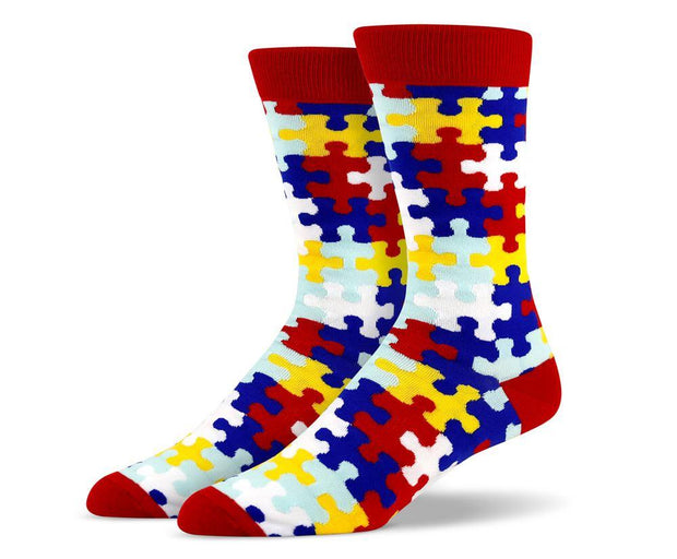 Mens Red Puzzle Socks