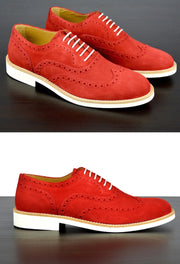 Mens Red Suede Wingtip Dress Shoes
