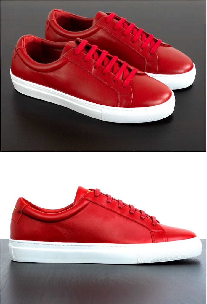 Mens Red Leather Sneakers | Soxy Socks