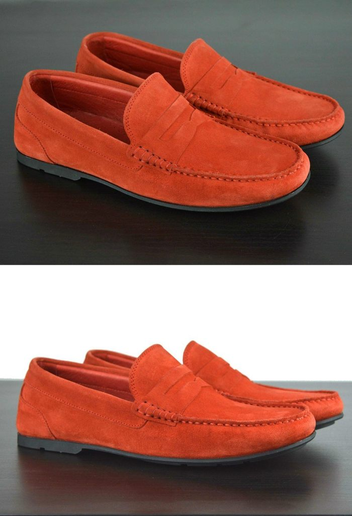 Mens Red Suede Driving Loafers