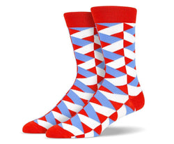 Mens Red DNA Wavy Socks