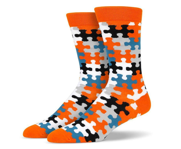 Mens Orange Puzzle Socks