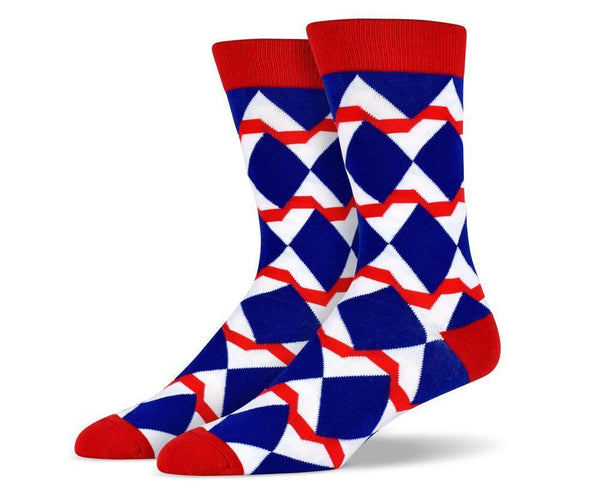Mens Diamonds and Waves Socks