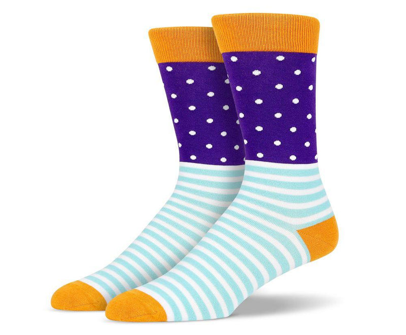 Mens Purple Stripe and Polka Dot Socks