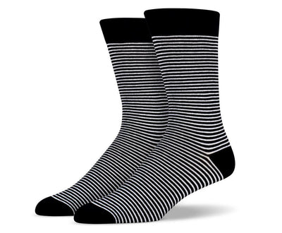 Mens Black & White Thin Striped Socks