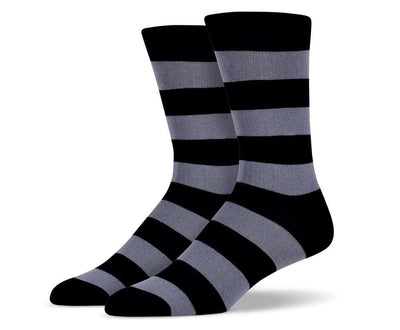 Mens Grey & Black Thick Striped Socks