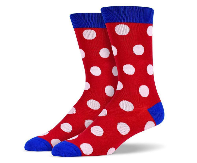 Mens Red Big Dots Socks