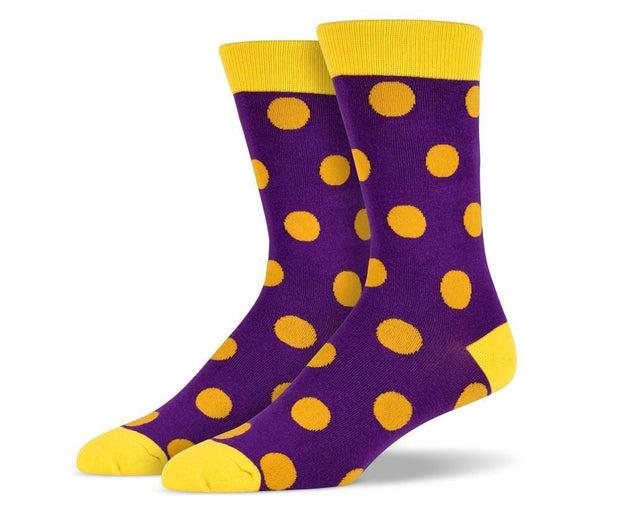 Mens Purple Big Dots Socks