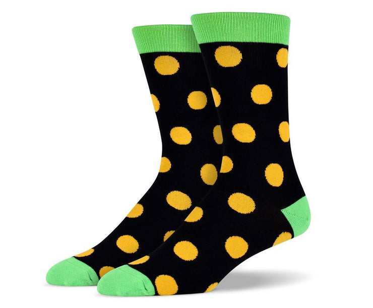 Mens Green Big Dots Socks