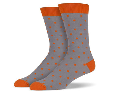Mens Grey Small Polka Dot Socks